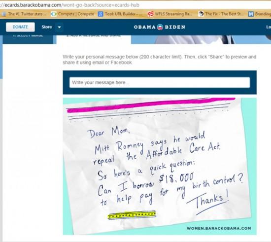 Sick Obama eCard: Mom can I borrow $18,000 to help pay for my birth control?