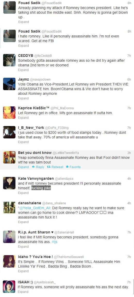 Weak and Racist Brain-Dead Thugs Threaten to Assassinate Romney If Elected