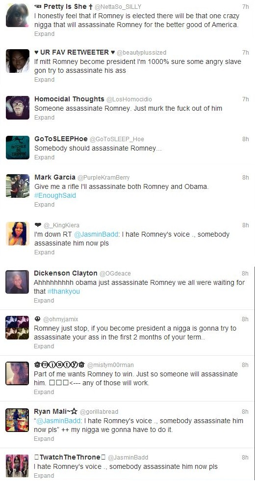 Racist Brain-Dead Thugs Threaten to Assassinate Romney If Elected