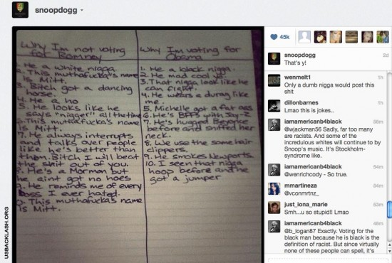 Racist Womanizing Druggie Thug Snoop Dog Posts Racist Reasons Why He Will Vote For Obama