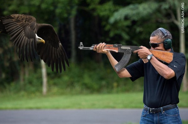Anti-American Obama shoots Bald Eagle with AK47