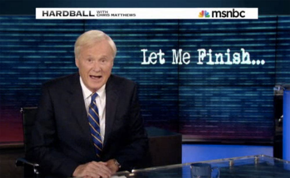"MSNBC Stooge Host Chris ""Thrills Up My Leg"" Matthews May Climax While Interviewing Obama – Ready With Handy-Wipes"