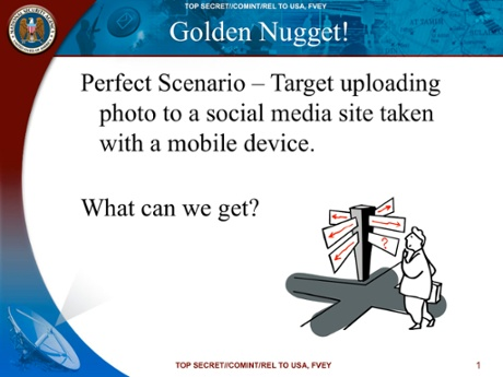 A May 2010 NSA slide on the agency's 'perfect scenario' for obtaining data from mobile apps. Photograph: Guardian