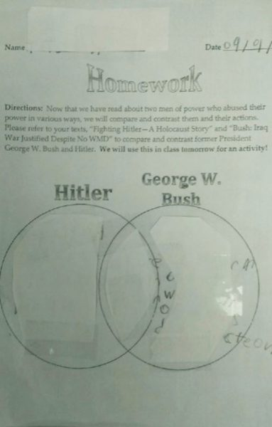 McKinley Tech Middle School 6th Grade Homework Comparing George Bush to Hitler