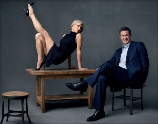 """MSNBC's Unprofessional Mika Brzezinski Poses - Legs Up - Ass Almost Showing - 5 Inch """"Fuck Me"""" Heels"""