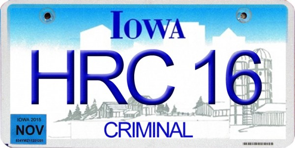Corrupt Iowa Democratic Party Chair Andrea McGuire Refusing To Review Caucus Results Has 'HRC 16' License Plates