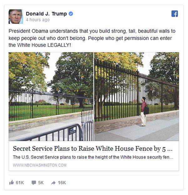 Attacks obamas immigration hypocrisy over taller whitehouse fence