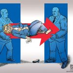 deathly-sick-hillary-clinton-carried-off-on-clinton-logo-stretcher-cartoon