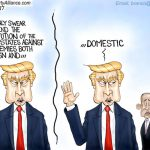 Trump-Defends-Against-All-Enemies-Foreign-Domestic-Democrats-Cartoon
