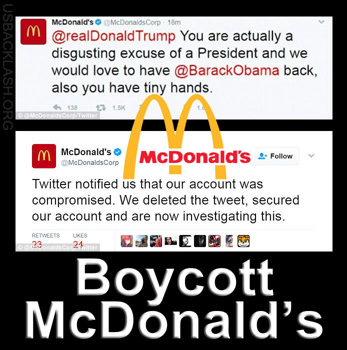 Disgusting McDonald's Attacks President Trump Then Expectedly Claims Twitter Account Hacked