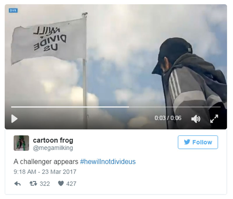 Washed-Up Dirtbag Shia Labeouf's New UK Anti-Trump Flag & Webcam Taken Down Again