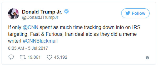 If only @CNN spent as much time tracking down info on IRS targeting, Fast & Furious, Iran deal etc as they did a meme writer! #CNNBlackmail