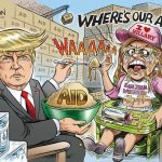 crazy-unstable-san-juan-mayor-carmen-yulin-cruz-spoon-fed-by-president-trump-cartoon