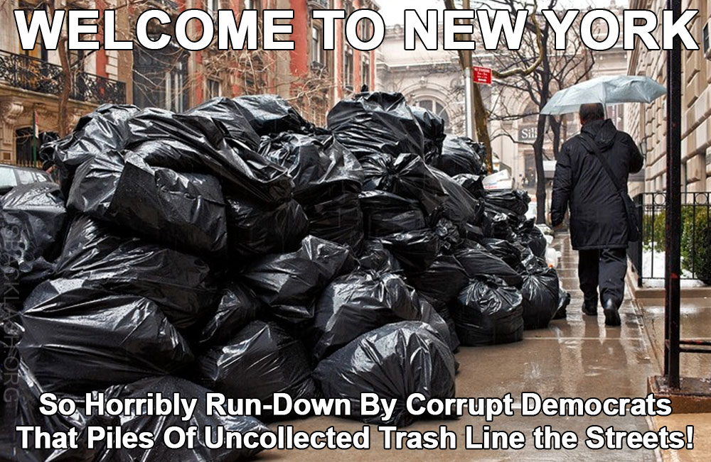 Trash Piling Up Along Streets of Shithole New York Hasn't Been Picked Up Since Christmas