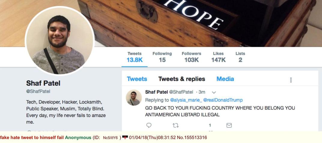 HATE HOAX: Deranged Blind Muslim Trump Shaf Patel Hater Busted Sending Hate Tweets TO HIMSELF