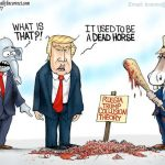 democrats-fake-news-media-beat-fake-trump-russia-collusion-lie-dead-horse-beyond-recognition-cartoon