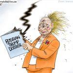 rnc-fake-trump-russia-dossier-blew-up-in-hillary-dnc-fbi-doj-face-cartoon
