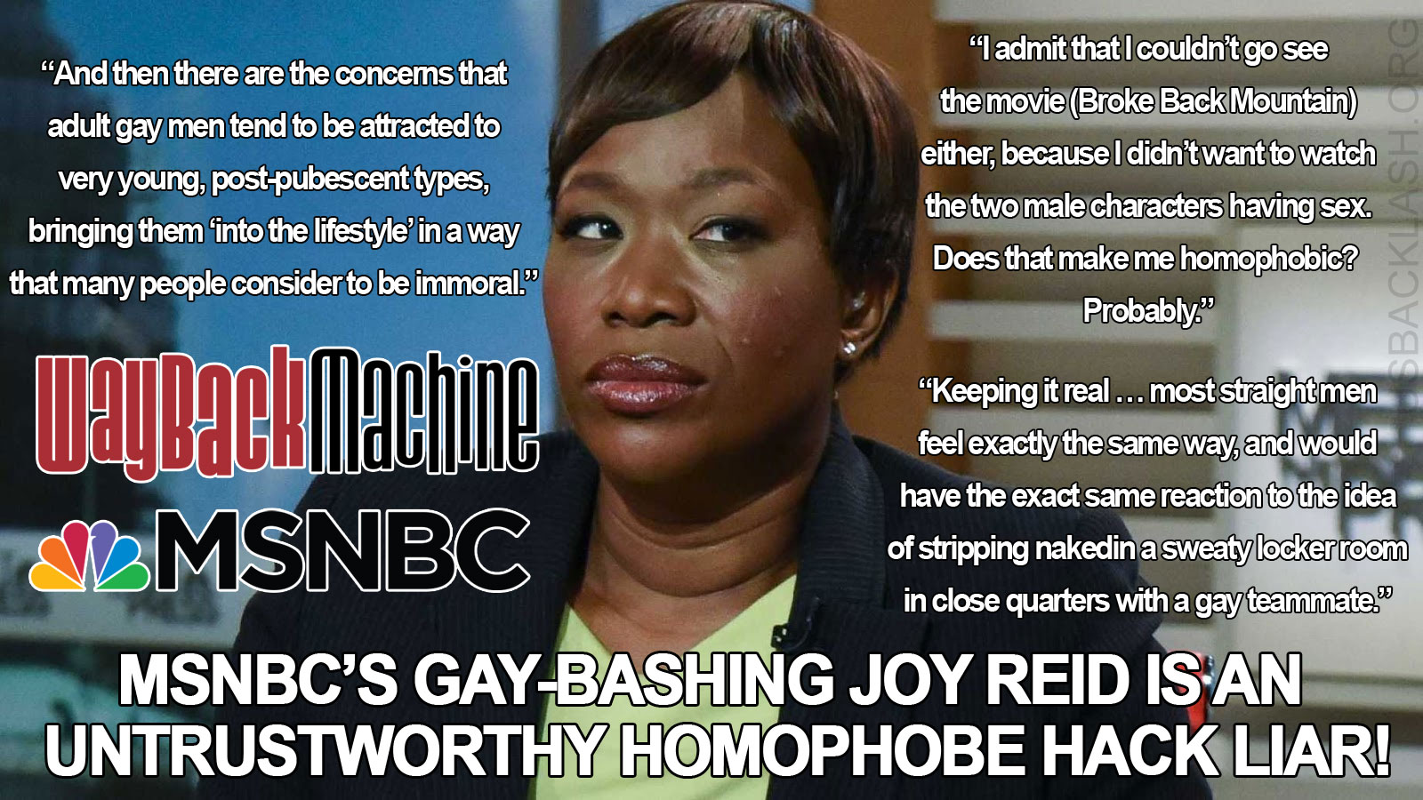 MSNBC's Hypocrite Joy Reid's Gay-Bashing Blog Posts Revealed Before Being Scrubbed From the Internet Way Back Machine
